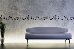 Cenefa de notas musicales y clave de sol