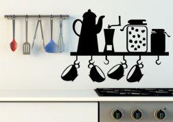 Vinilo de utensilios de cocina para el cafe