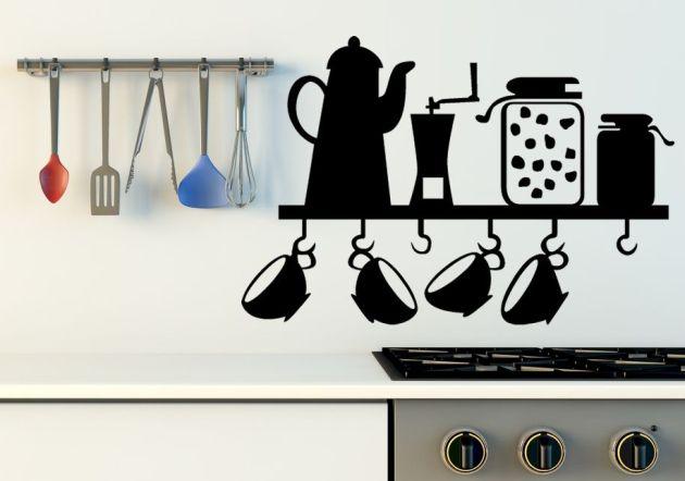 Vinilo de utensilios de cocina para un buen cafe vinilos - Vinilo para cocina ...