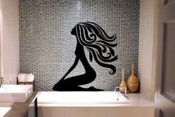 Vinilo de baño, silueta de mujer