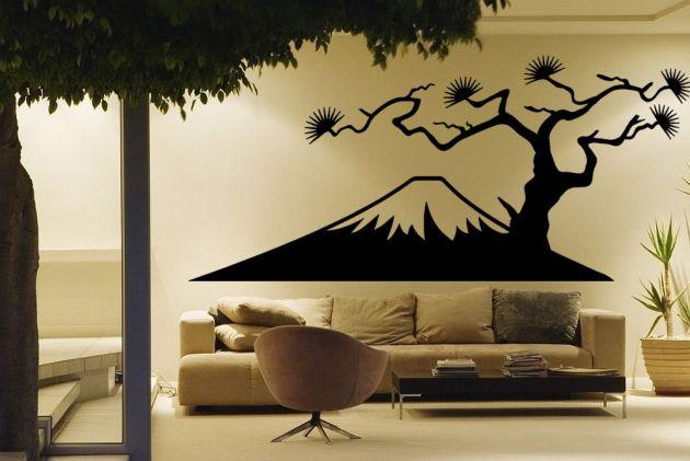 Vinilo paisaje japones, con el monte Fuji y el arbol sakura