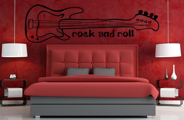 Vinilo decorativo guitarra el ctrica de rock and roll for Vinilos decorativos habitacion juvenil