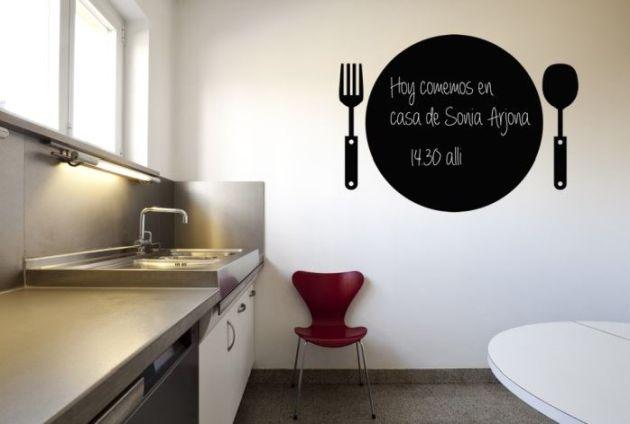 Vinilo pizarra cocina plato y cubiertos vinilos decorativos - Pizarra para cocina ...